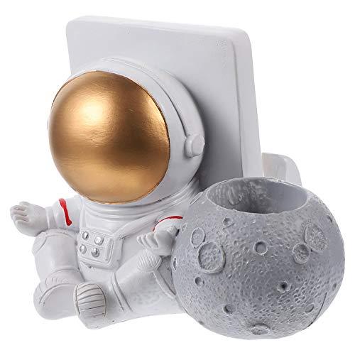 ABOOFAN Astronauta Modelo Figura de Ação Estátua Suporte de Telefone Resina Caneta Pote Espaço Homem Escultura Criativa Casa Decoração de Quarto Ornamento Gloden