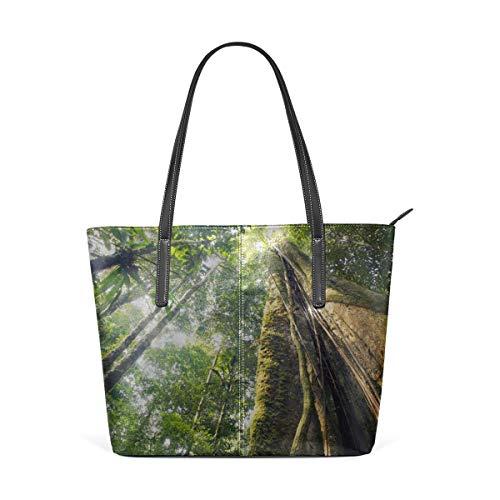 BAODANLA Bolsos de mano de mujer Laptop Tote Bag Amazon Primeval Jungle Large Printed Shoulder Bags Handbag Pu Leather Top Handle Satchel Purse Lightweight Work Tote Bag For Women Girls