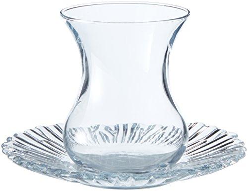 Pasabahce 95961-12-TLG Türkisches Teeglas-Set Aurora, 6 Teegläser und 6 Untersetzer (Kristall-Design)