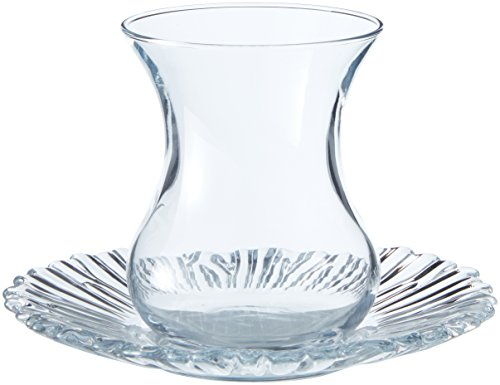 Pasabahce 95961-12-TLG Türkisches Teeglas-Set Aurora, 6 Teegläser und 6 Untersetzer