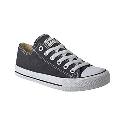 Elara Lucky-Z Unisex Sneaker Textil Turnschuh Low top Chunkyrayan 089-A-DkGrey-38