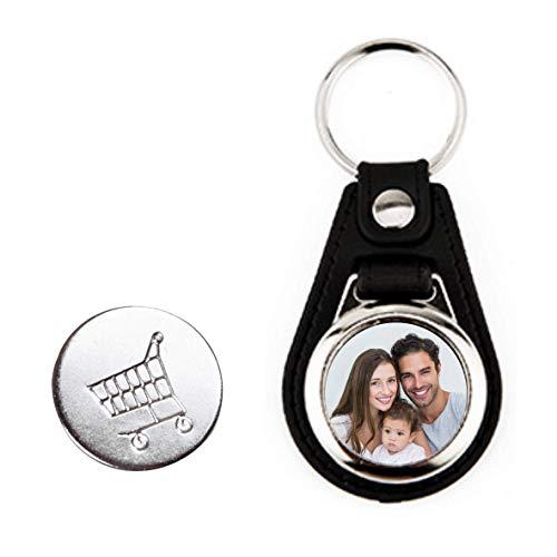 Tassenliebe® - Personalisierter Schlüsselanhänger mit Foto und Einkaufschip, Fotogeschenk, Kunstleder schwarz, Anhänger für Schlüsselbund, Auto, Motorrad, Schöne Geschenkidee für jeden Anlass