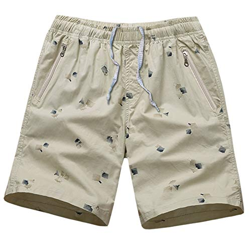 Pantalones Cortos de Playa para Hombre Moda Impresa Casual Cintura elástica cómoda Pantalones Cortos Deportivos Sueltos con Bolsillos con Cremallera 5XL