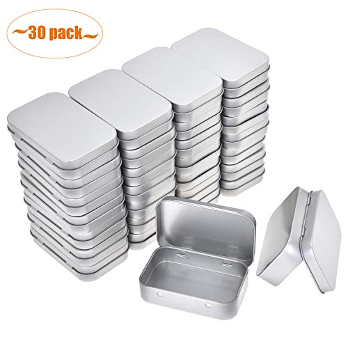 Aybloom Metal Rectangular Empty Hinged Tins - 30 Pack Silver Mini Portable Box Containers Small Storage Kit & Home Organizer