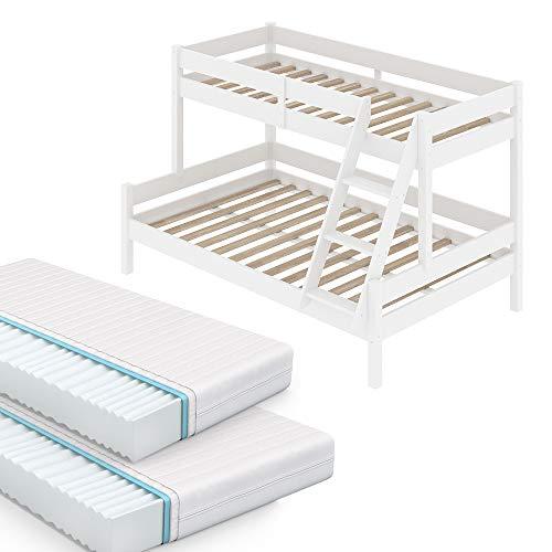 VitaliSpa Kinderbett Everest Etagenbett Weiß Hochbett (90 x 200 cm / 140 x 200 cm + Matratzen)