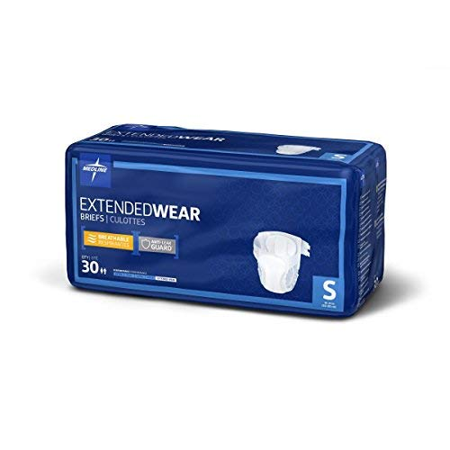 Medline Extended Wear Overnight Adult Briefs with Tabs, Maximum Highest Absorbency Adult Diapers, Large (60 Count)