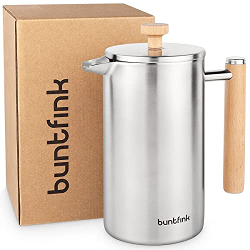 buntfink®'ThermoPress' French Press aus Edelstahl und Holz | 1L (5 Tassen) | Kaffeebereiter doppelwandig isoliert | Kaffeepresse + Ersatzfilter + Untersetzer | plastikfrei