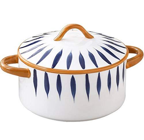 SD&EY Grande Ciotola in Ceramica con Coperchio e Maniglia per la zuppa di Riso Insalata di Riso Integrale istantaneo Verdure Frutta 1800ml