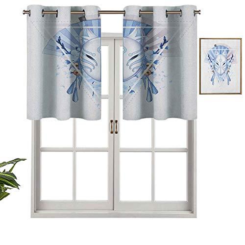 Hiiiman Cortinas cortas, con ojales para ventana, diseo de mscara de zorro Kitsune Japn con flores triangulares de sakura, juego de 2, 42 x 24 pulgadas para bao y cocina
