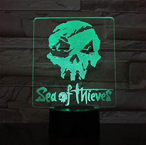 7 colori Sea of Thieves Figura USB 3D LED Luce notturna Decorazione Multicolor Ragazzi Bambini Bambini Regali per bambini Gioco Logo Lampada da tavolo Comodino