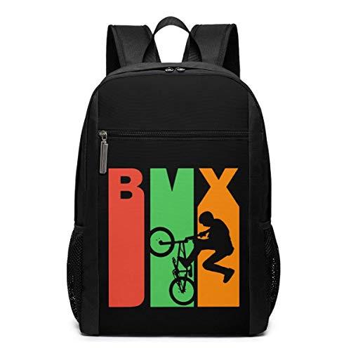 Retro Style BMX Silhouette Extreme Sports Rucksack für Teenager (schwarz)