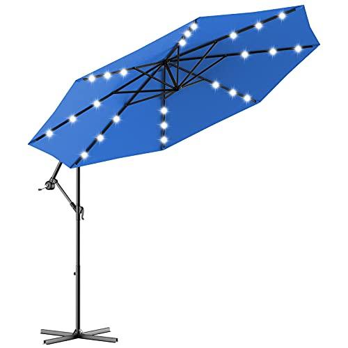 CASART 3M Outdoor Parasol Umbrella with 24 LED Lights, Winding Crank and Cross Base, Garden Market Beach Patio Banana Sun Shade Umbrella (Blue)