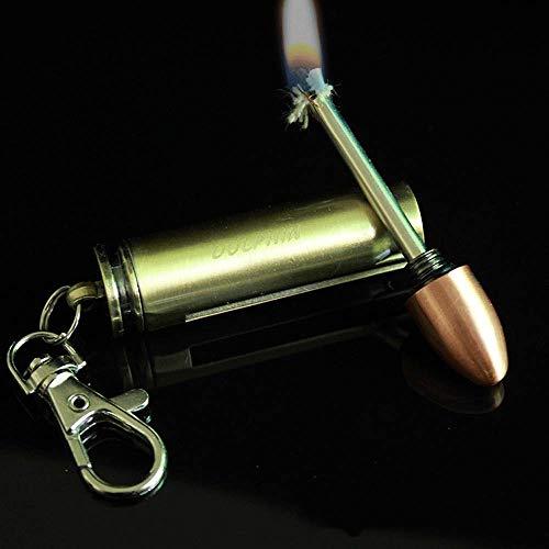 BOLLAER Bullet-Modell-Flint, Auto-Schlüsselanhänger, EDC Beste Geschenkideen und Grillen, Camping, Notfall-Überlebensausrüstung für Männer und Frauen