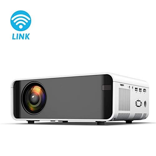 Ai LIFE Beamer 8000 Lumen Mini-Projektor Unterstützt 1080P Full HD Drahtlose Projektion über WiFi Tragbarer LED-Heimkinoprojektor Kompatibel mit Tablet, HDMI VGA AV USB SD,Weiß