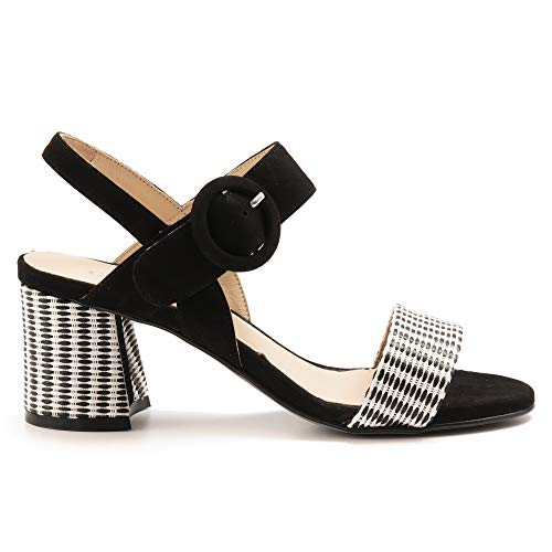 CARMENS sandalen, suède, zwart en geweven stof, 45107 korting zwart, maat
