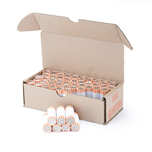 Quarter Storage Box Orange Holds 50 Wrapped Coin Rolls, 10 Boxes
