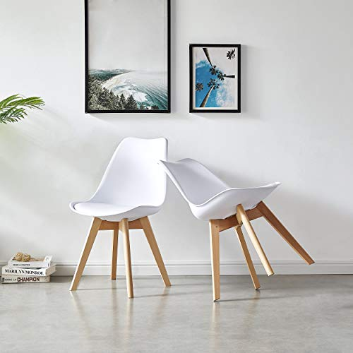 LeChamp White 2 Retro Dining Chair with Backrest and Soft Cushion Lorenzo Tulip Chairs Eiffel Chairs PP and Solid Wood Legs Lounge Chairs for Kitchen Counter Side Leisure Living Room