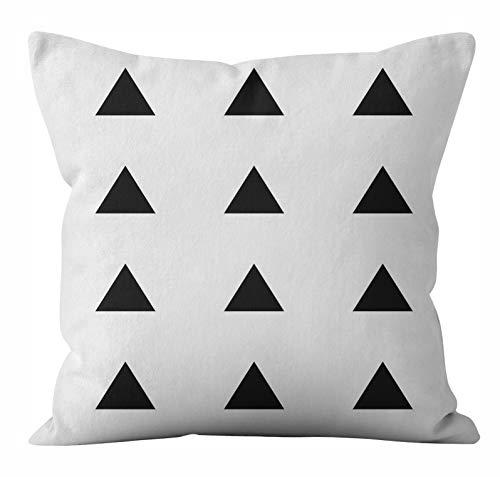 PPMP Funda de cojín de Felpa Corta Funda de Almohada de sofá geométrica en Blanco y Negro Funda de cojín de decoración del hogar para Dormitorio A8 45x45cm 2pcs