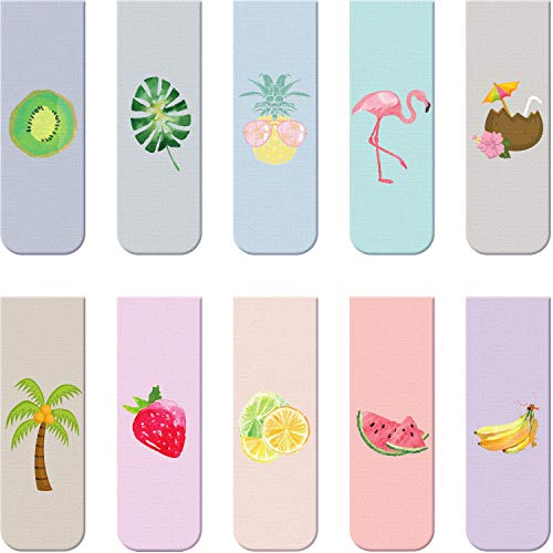 10 Pieces Magnetic Bookmarks Magnet Page Markers Assorted Book Markers Set for Students Reading (Fruit Syle, 2.3 x 0.8 Inch)