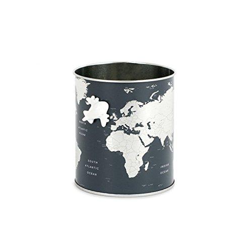 Balvi Pot à Crayons Globe Couleur Gris Carte du Monde, Comprend Petit Avion magnétique Étain 10x8,5x8,5 cm