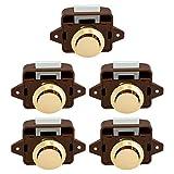 OCGIG 5PCS Botón pulsador Gabinete Cerradura de la puerta Caravana Autocaravana Camper Pestillo Armario Perilla de oro