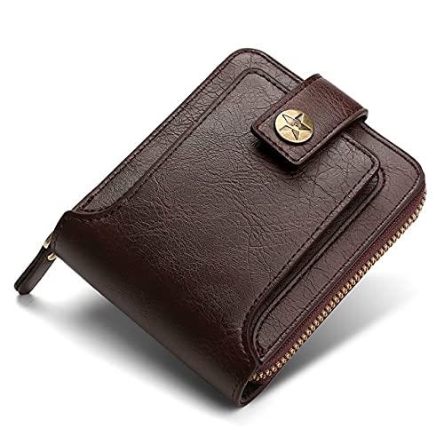 UKKD Cartera Monedero De Hombre Pequeño Retro Cuero Billetera Corta Hebilla De Hombre con Cremallera Embrague Sólido-Brown
