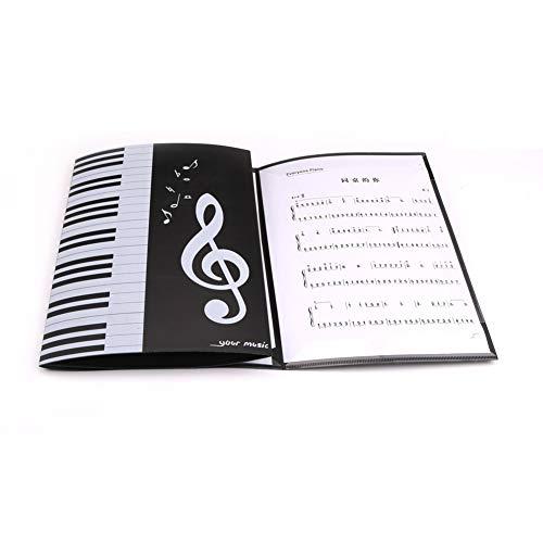 Klavier-Notenordner, A4, Notenblatt-Mappe, 6 Seiten, erweiterbarer Ordner, PVC-Notenpapier-Auslage, faltbare Dokumentenmappe, Musik-Auslage 2pcs schwarz / weiß