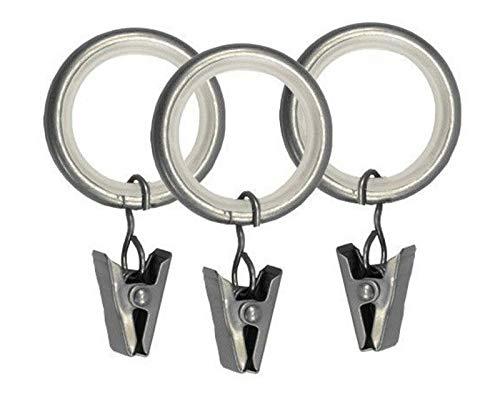 Gardinenringe mit Klammern Leise Rutenringe Für 25mm Stangen Satin Matt 10x
