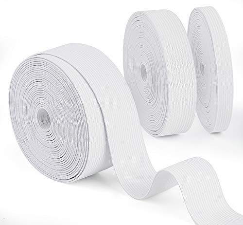 Agoer Gummiband Weiß 10mm 20mm 30mm Breit, 3 Stück Breites Gummiband Nähen Elastisches Band zum Nähen und Haushalt DIY Handwerk, 15 m Gummilitze