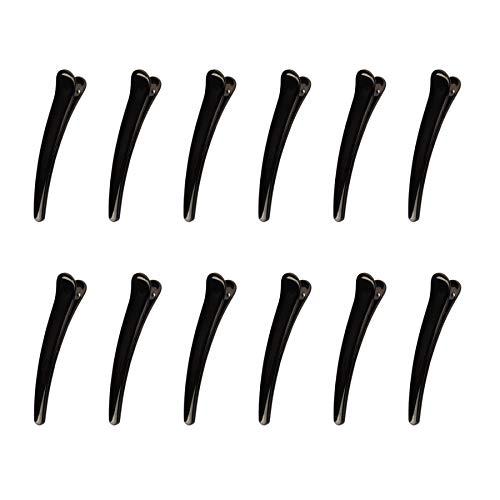 【GLASS FROG】ダッカール ヘアクリップ 12本セット 選べる4サイズ 上品な艶有りブラック 美容師 理容師(S,7.8cm)