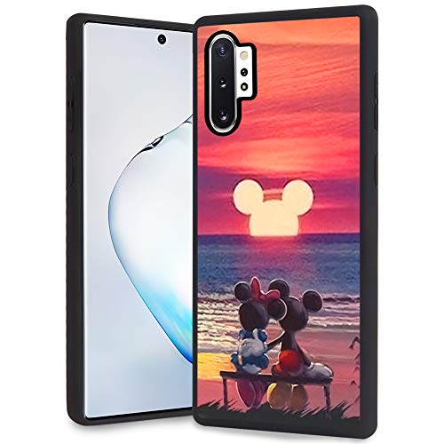 DISNEY COLLECTION Mickey and Minnie Mouse Sunset Design for Samsung Galaxy Note 10 Plus/Samsung Galaxy Note 10+ 5G Case Soft TPU and PC Cover Retro Stylish Classic Cover