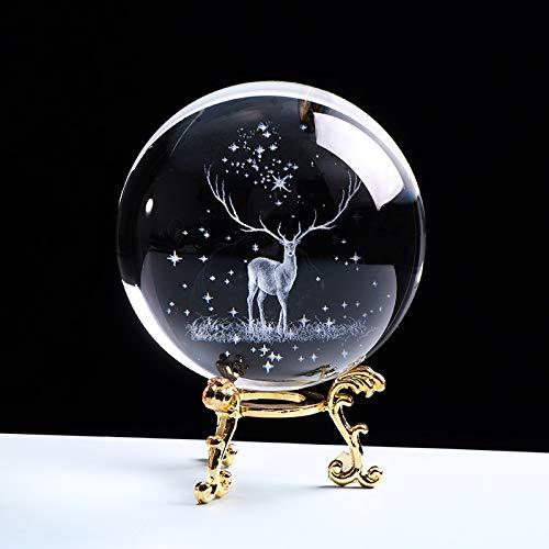 Bola 3D de cristal grabado con láser Globo de cristal ornamento miniatura Reno Decoración del hogar Decoración de Navidad Accesorios Esfera (color: con base dorada, tamaño: bola de 8 cm)