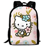 wobuzhidaoshamingzi Mochila Casual Hello Kitty con Cremallera Estampado de...