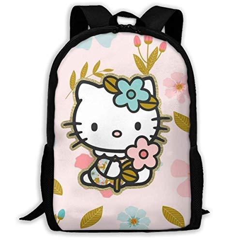 Mei-shop Mochila Informal Hello-Kitty con Estampado de Flores y Cremallera Mochila Escolar Mochila de Viaje Mochila-9E