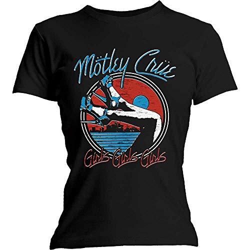 """Motley Crue Official - Maglietta da donna, con tacco in metallo e scritta """"The Dirt Nero 40"""