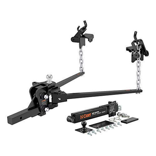 CURT 17322 Short Trunnion Bar Weight Distribution Hitch with Sway Control, Up to 10K, 2-In Shank, 2-5/16-Inch Ball, Black