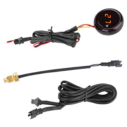 KIMISS Elektronische Motorrad Digital Thermometer Wassertemperaturanzeige wasserdichte Sonde, LED Wasser Thermometer Messgerät Meter(rotes Licht)