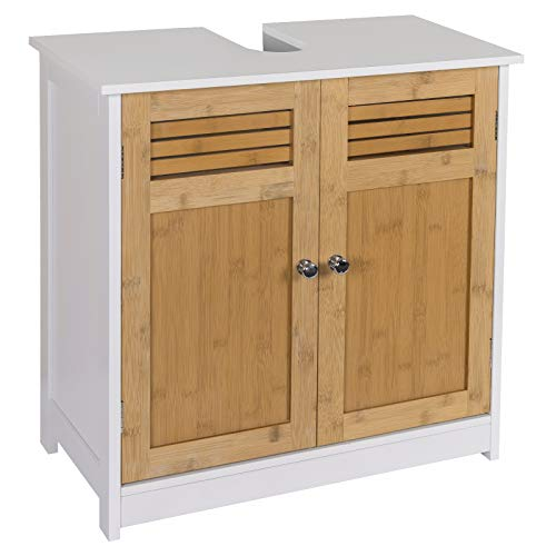 eSituro SBP0048 Waschbeckenunterschrank Badschrank mit Siphonausschnitt Waschtischschrank Badzimmerschrank Badregal Stehschrank Aufbewahrungsschrank verstellbare Ebene aus MDF Weiß Natur Bambus