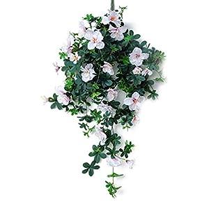 Silk Flower Arrangements Aimili Azalea Fake Flower Rattan Vine Wall Three-Dimensional Artificial Flower, Artificial Flower Wedding Holiday Party Decoration Flower,Light purple/90CM