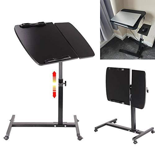 Stolik na laptopa na łóżko kanapę, składany stolik na laptopa – regulowana wysokość stolik biurowy, biurko na kółkach przenośny stolik pomocniczy z tacą pod mysz – czarny