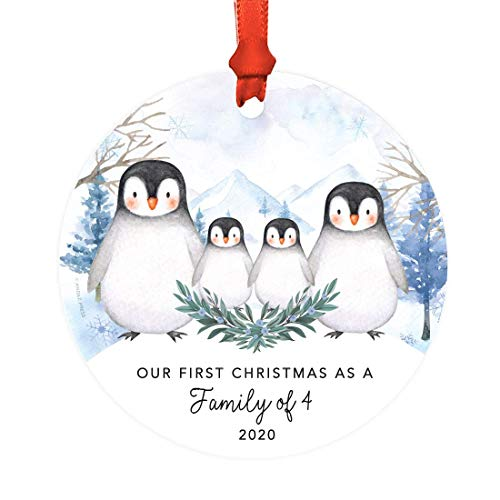 Andaz Press Custom Year Family Round Metal Christmas Keepsake Ornament, Our First Christmas as a Family of Four 2021, Watercolor Winter Penguins on Snow, 1-Pack, Includes Ribbon and Gift Bag