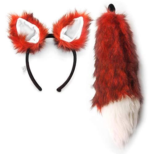 Fox Costume Ears Headband & Tail Accessory Kit for Adults and Kids Orange