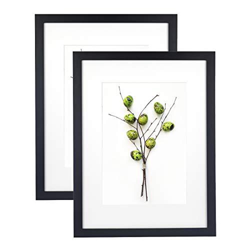 Home&Me 100% Echtholz Bilderrahmen Schwarz 30x40cm 2er Set -mit Passepartout 21x30 cm (A4), Fotorahmen mit Echtglas für Zertifikat zum aufhängen