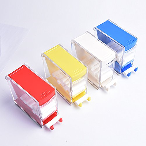 Professional Dental Cotton Roll Dispenser Press-Out Type Absorbent Cotton Roll Holder Organizer with Pull-Out Tray Color Random