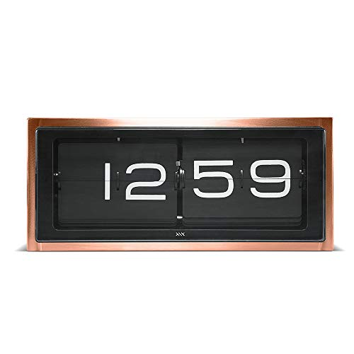 LEFF Amsterdam Brick Flip Clock for Wall or Tabletop Silent Traditional 24h Copper/Black