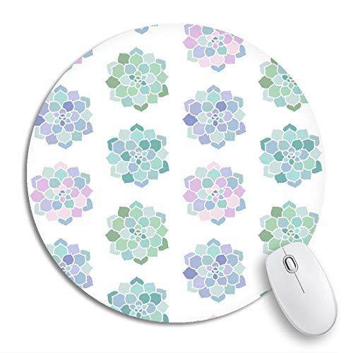 Runde Mauspad Zimmerpflanzen Rosa Lila Blau Grün Türkis Pastell Sukkulente rutschfeste Gummibasis Mausmatte Gaming Mousepad für Computer