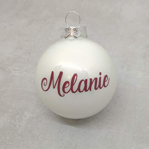 Bola de cristal de adorno de Navidad blanca con texto rojo personalizado