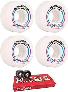 Ricta 53mm Wheels Samarria Brevard Pro Rapido Wide White Skateboard Wheels - 101a with Bones Bearings - 8mm Bones Super Reds Skate Rated Skateboard Bearings (8) Pack - Bundle of 2 Items