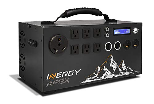 inergy Apex Lithium Portable Solar Power Station, 1100Wh Expandable Battery and Silent Alternative to Gas Generator 1500W Inverter (3000W Surge), 12V, USB-C, USB Quick Charge, 6 110-120 AC Outputs
