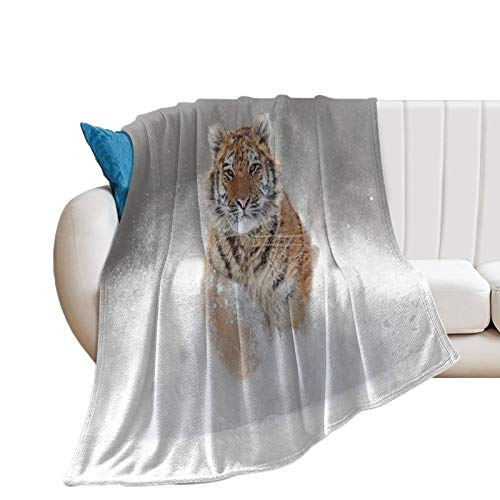 Throw Blanket for Couch Flannel Blankets Siberian Tiger 180gsm Big Cat Snow Lightweight Ultra Soft for All Season Farmhouse Decorative Blanket for Bed Sofa Travel Birthday Gift 40x50 Inch